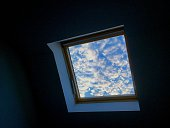 Low Angle View Of Sky Seen Through Skylight