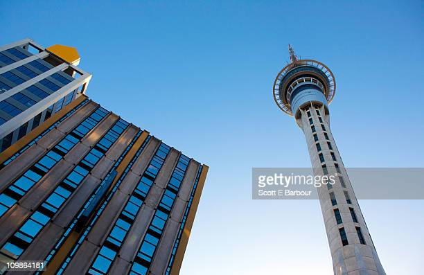 Low angle view of Sky Tower, Auckland, New Zealand