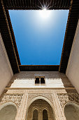 Low angle view of skylight in Alhambra roof, Granada, Andalusia, Spain