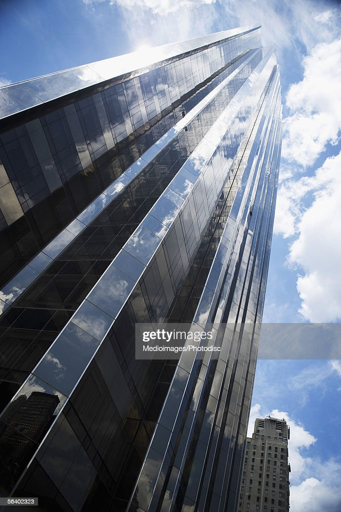 Low angle view of skyscraper in Manhattan, NY, USA : Stock Photo