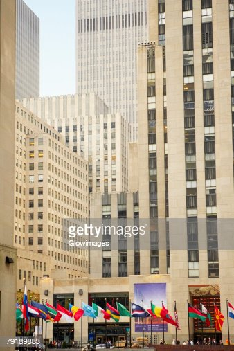 Low angle view of skyscrapers in a city, Rockefeller Center, Manhattan, New York City, New York State, USA : Stock Photo