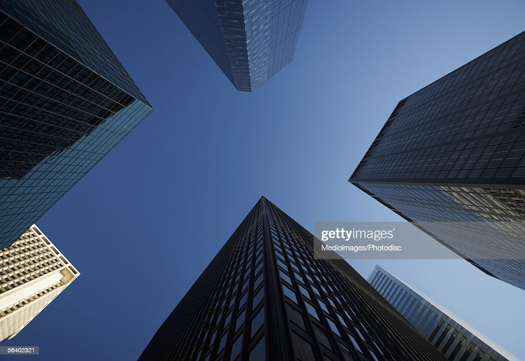 Low angle view of skyscrapers in Manhattan, NY, USA : Stock Photo