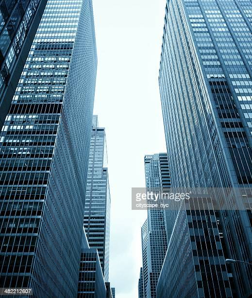 Low angle view of Skyscrapers, Midtown, Manhattan, New York, America, USA