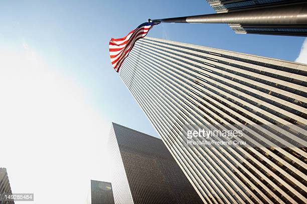 Low angle view of skyscrapers, New York City, New York, USA