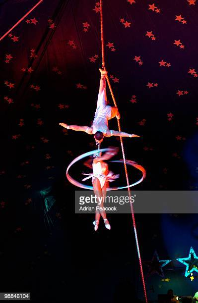 Low angle view of spinning circus performers