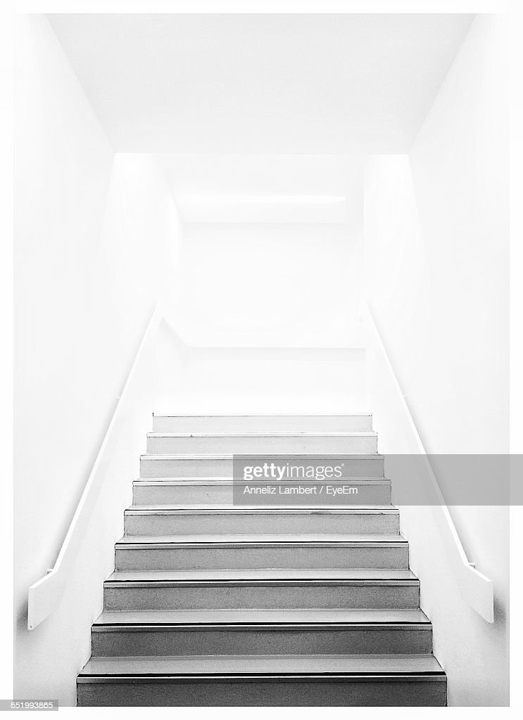 Low Angle View Of Stairs Along Railings