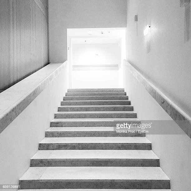 Low Angle View Of Stairs Along The Walls