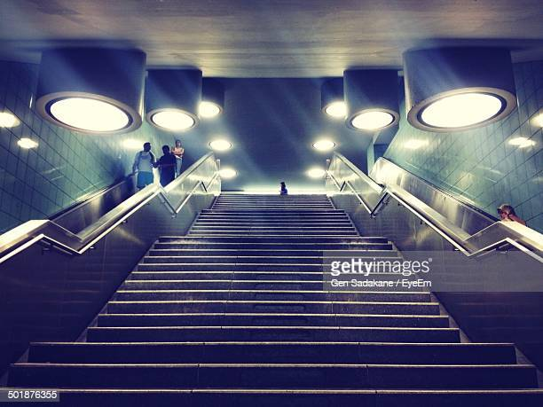 Low angle view of stairs in subway
