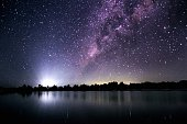 Low Angle View Of Starry Sky Over River