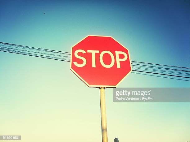 Low angle view of stop sign