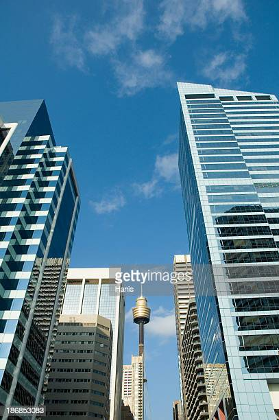 Low angle view of Sydney high rises in business district
