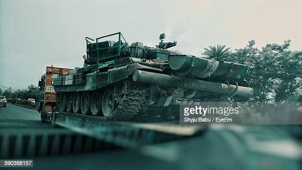 Low Angle View Of Tank On Truck At Street