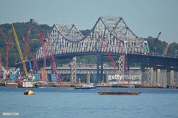 Low Angle View Of Tappan Zee Bridge Over Hudson River