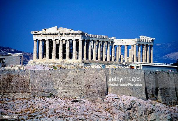 Low angle view of the Acropolis and Parthenon, Athens, Greece
