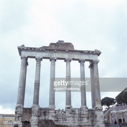 Low angle view of the columns of a monument, Roman Forum, Rome, Italy