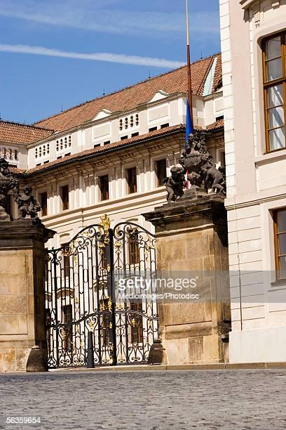 Low angle view of the gates of a castle, Prague Castle, Prague, Czech Republic