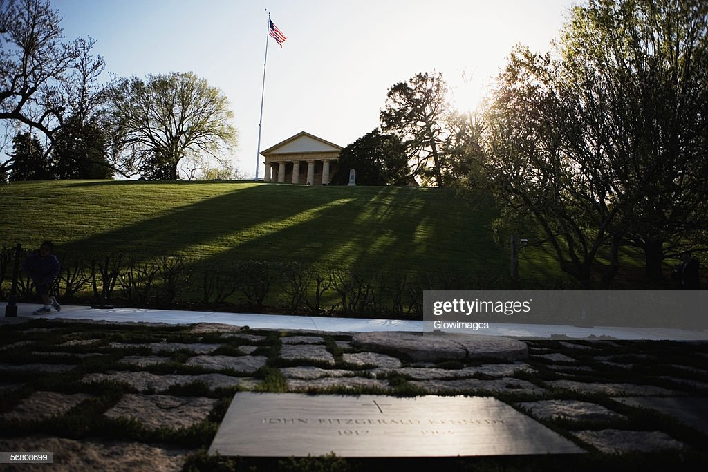 Low angle view of the John Kennedy Grave And Memorial, Arlington House, Arlington, Virginia, USA : Stock Photo