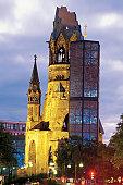 Low angle view of the Kaiser Wilhelm Memorial Church, Kurfurstendamm, Berlin, Germany