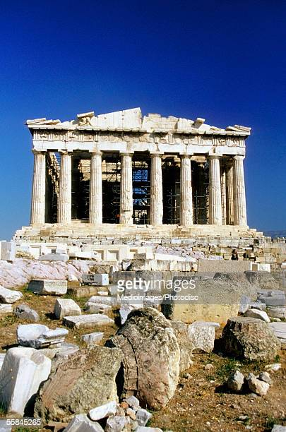 Low angle view of the Parthenon, Athens, Greece