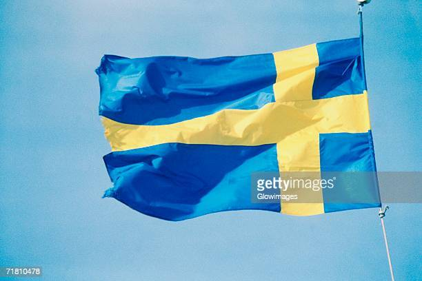 Low angle view of the Swedish flag, Sweden