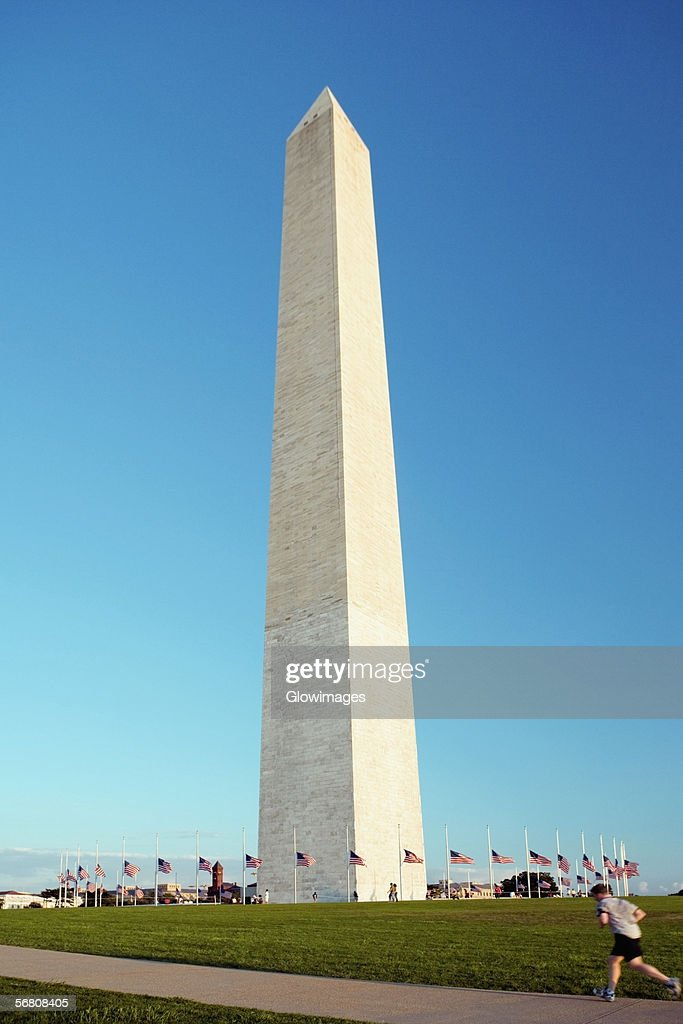 Low angle view of the Washington Monument, Washington DC, USA