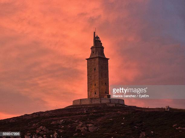 Low Angle View Of Tower Of Hercules During Sunset