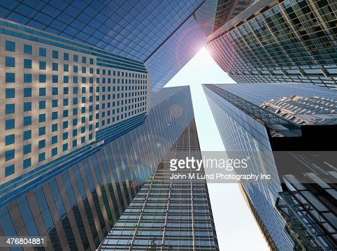 Low angle view of towering skyscrapers : Stock Photo