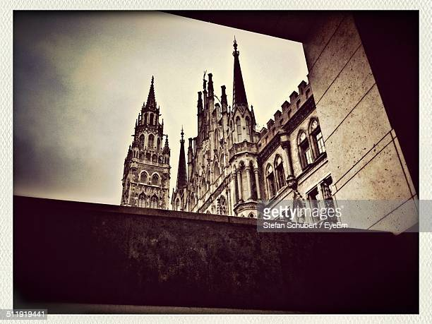 Low angle view of town hall at Marienplatz in Munchen, Germany