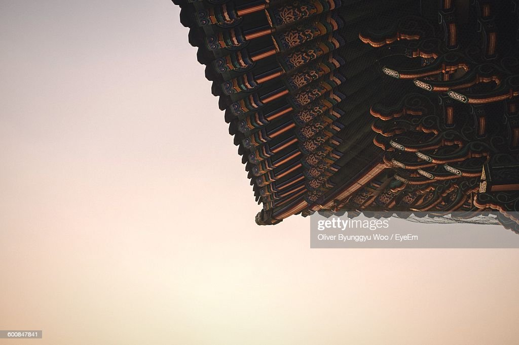 Low Angle View Of Traditional Roof Against Clear Sky