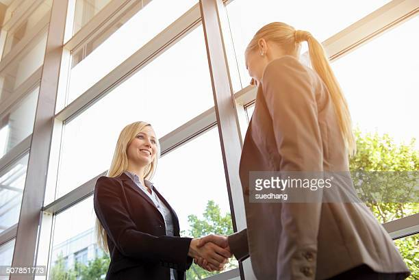 Low angle view of two young businesswomen shaking hands