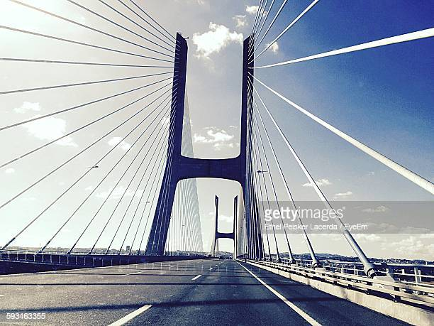 Low Angle View Of Vasco Da Gama Bridge Against Sky