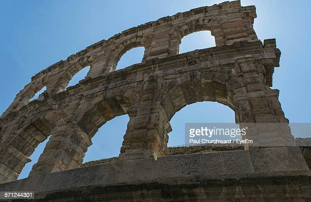 Low Angle View Of Verona Arena Against Clear Sky