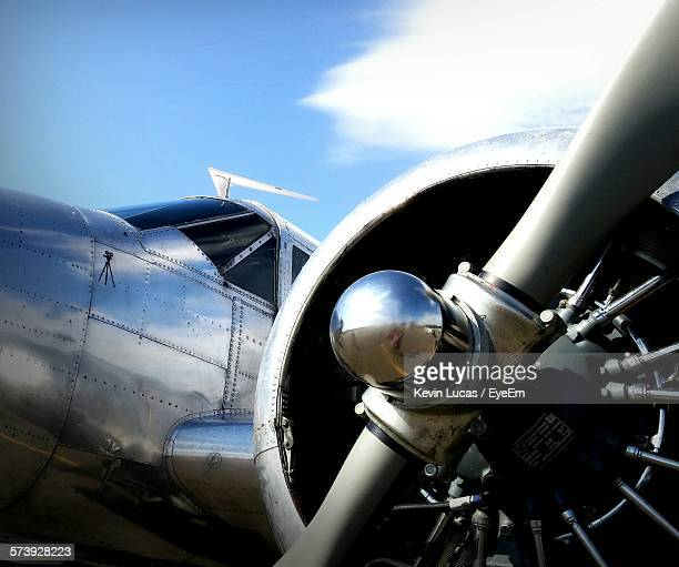 Low Angle View Of Vintage Airplane Against Sky