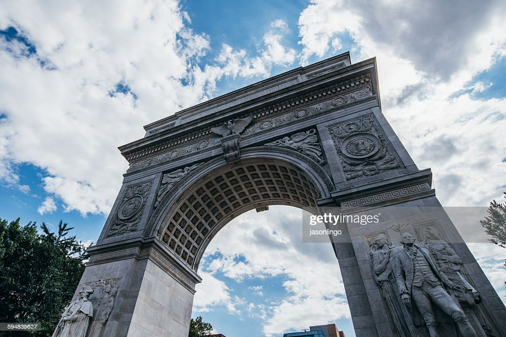 Low angle view of Washington Square Arch, Manhattan, New York, USA