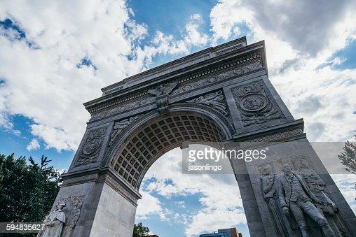 Low angle view of Washington Square Arch, Manhattan, New York, USA