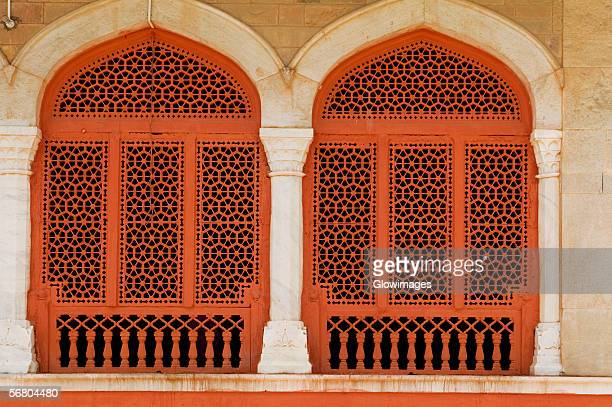 Low angle view of windows of a museum, Government Central Museum, Jaipur, Rajasthan, India