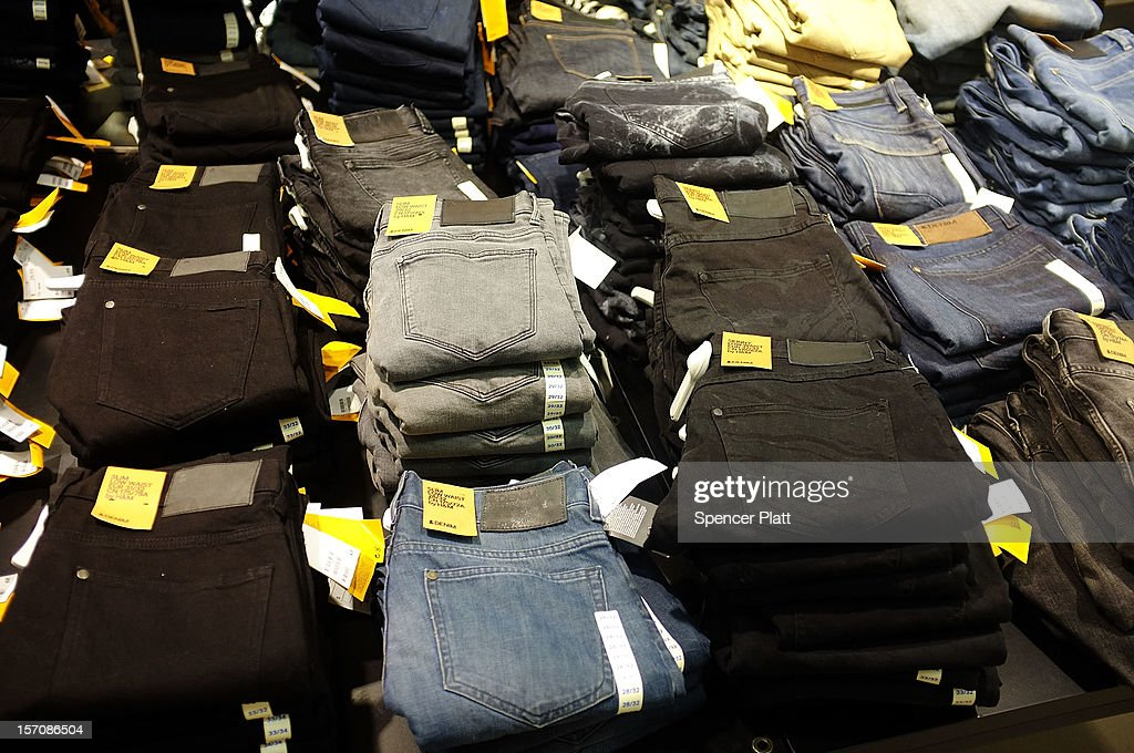 Low cost jeans are displayed at a discount clothing store on November 28, 2012 in New York City. Following a fire at Tazreen Fashions Ltd. factory in Bangladesh in which 112 workers were killed on November 24, renewed scrutiny has been brought upon Western clothing companies and their responsibility for working conditions at their overseas operations. Wal-Mart's Faded Glory brand, Sean Combs' ENYCE label and apparel from the Disney Store are just some of the Western brands that were sewn at the Bangladeshi factory. As American consumers continue to demand bargain prices for clothes, retailers are under increasing pressure to balance safe working conditions with cheap labor costs.