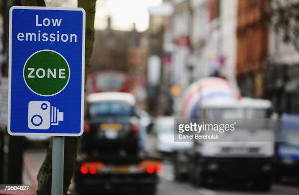 A low emission zone sign is pictured on February 4 2008 in London England The start of the legislation will charge operators of affected lorries...