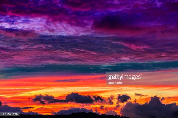 Low key vibrant colors of a sunset background