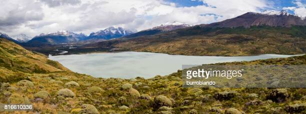 A low Patagonian lake along the full circuit hike around Torres Del Paine Chile, Patagonia, South America