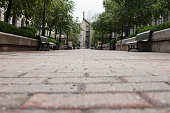 Low point of view looking down a brick paved pedestrian walkway lined with green park benches, shrubbery, and trees in Old Montreal, Quebec, Canada.