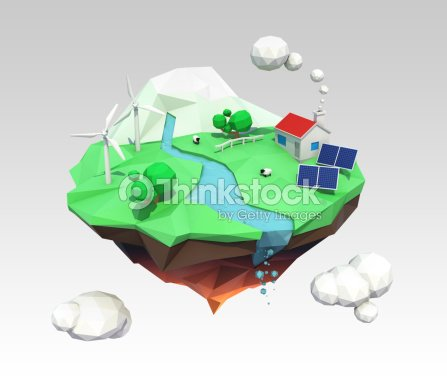 3d Low Poly Floating Island For Ecology Concept Stock