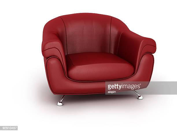 Low, red leather modern easy chair with stainless steel legs