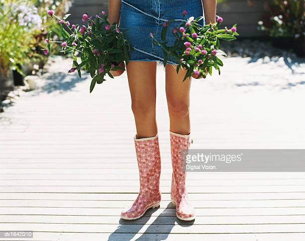 Low Section of a Woman Standing in a Garden Wearing a Denim Skirt and Wellington Boots and Holding Potted Plants
