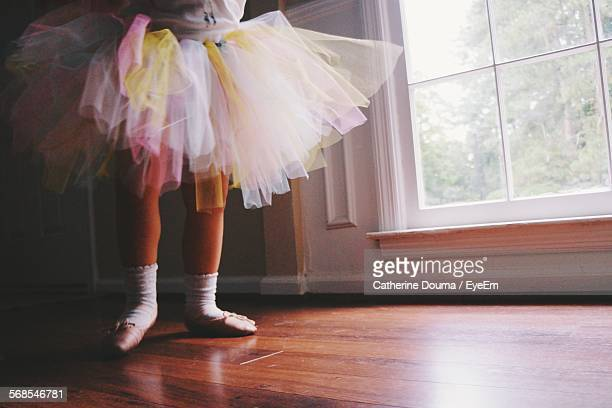 Low Section Of Ballerina Standing On Hardwood Floor At Home
