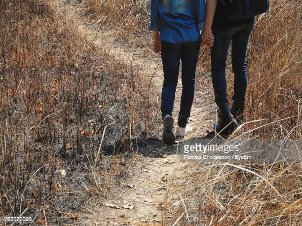Low Section Of Couple Holding Hands While Walking On Grassy Field