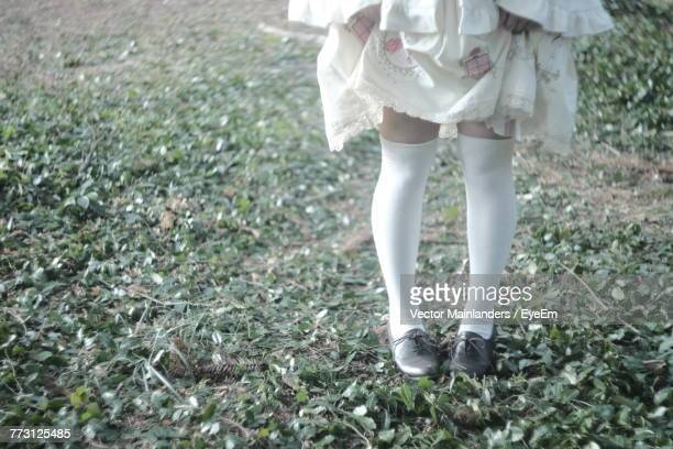 Low Section Of Girl Standing On Grassy Field