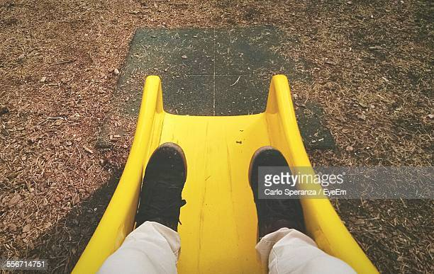 Low Section Of Man On Slide