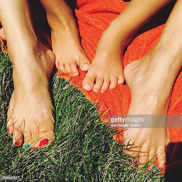 Low Section Of Mother And Daughter Relaxing On Grassy Field