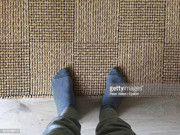 Low Section Of Person Standing On Doormat